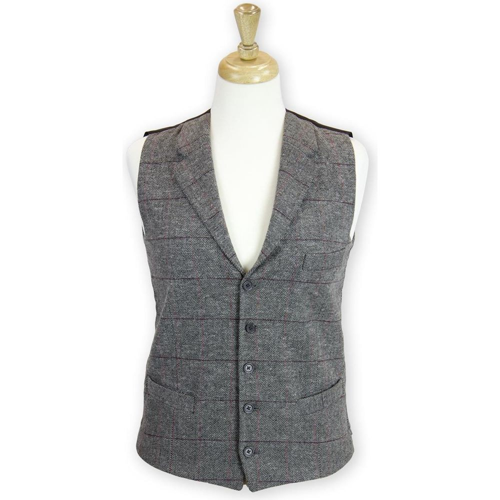 dbcc2734917 Collared Tailored Fit Wool Waistcoat - Tweed Waiscoats - Hospitality ...